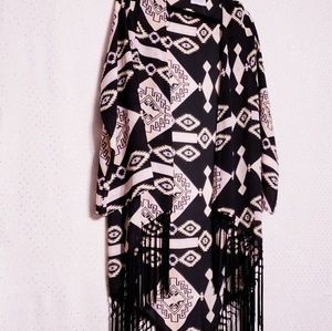 Braided Fringe Kimono*Coveted*Pink/Black/Coral*M